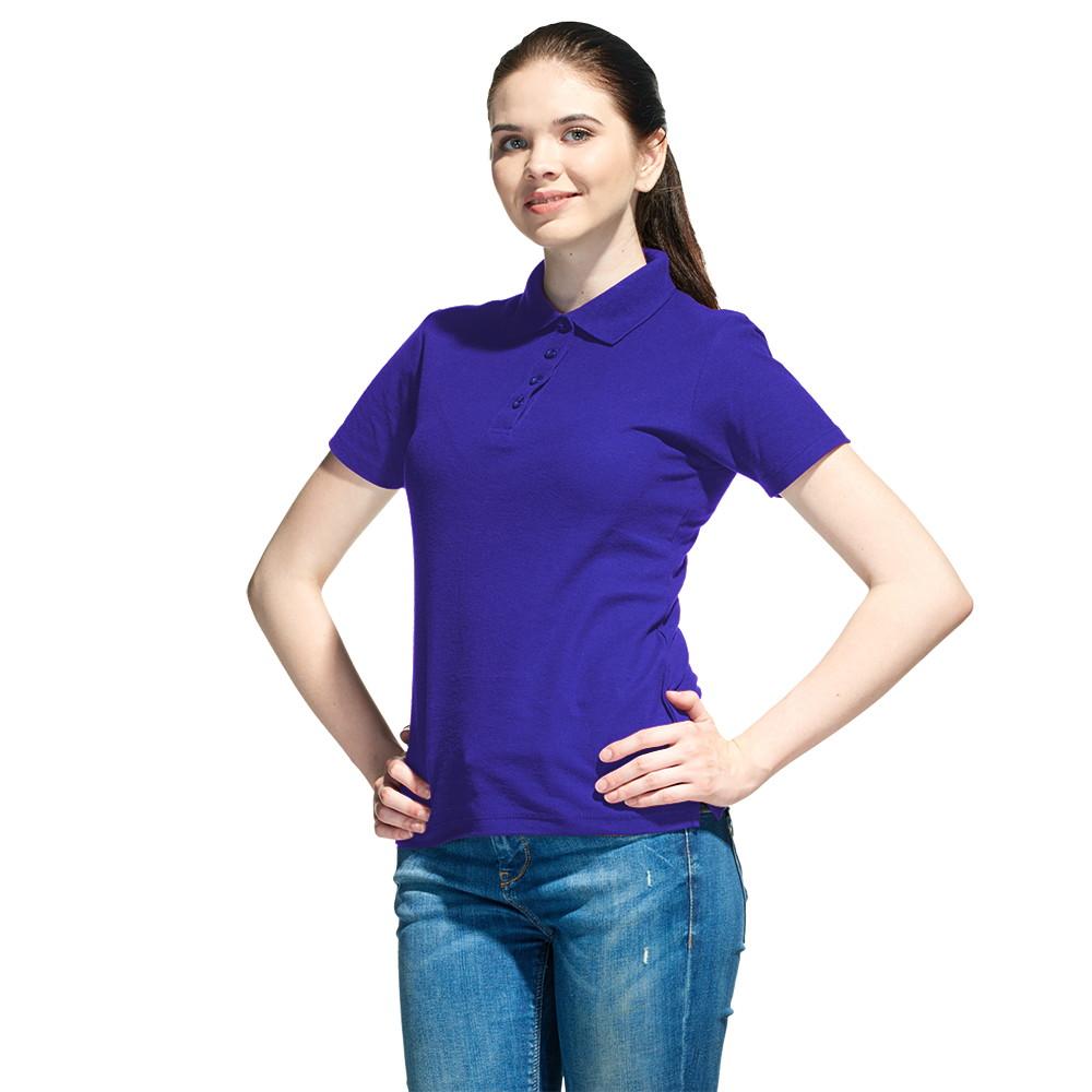 Женская рубашка поло с именной вышивкой (Синий)